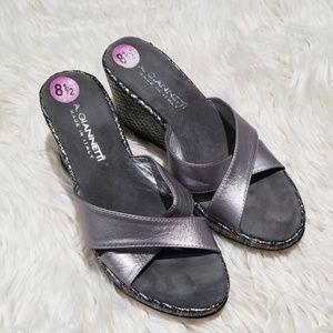 A. Giannetti silver Metallic wedge sandals 8.5 GUC